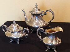 3 PC Reed&Barton Georgian Rose Sterling Silver Coffee/Tea Set + Silverplate Tray