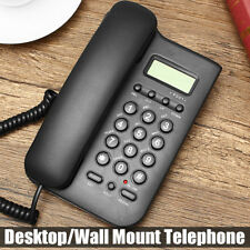 Wall Mount Telephone Desktop Corded Phone Caller Home Office Landline Black