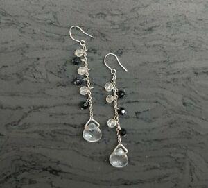 Black Facetted Dangley Earrings (Blk140)