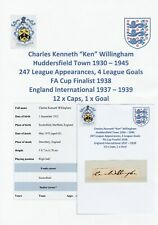 KEN WILLINGHAM HUDDERSFIELD TOWN 1930-1945 VERY RARE ORIGINAL AUTOGRAPH CUTTING