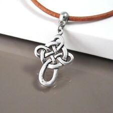 Vintage Silver Alloy Celtic Knot Cross Pendant 3mm Brown Leather Tribal Necklace