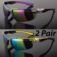 2 Pair Men Polarized Sunglasses Sport Wrap Around Mirror Driving Eyewear Glasses