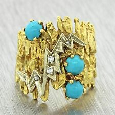 Mid Century 18k Solid Yellow Gold Turquoise Diamond Cocktail Band Ring