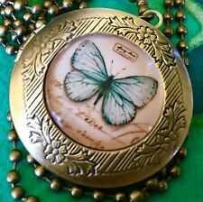 Butterfly Locket, Round Pendant Necklace. Bronze Gold. Blue Butterfly
