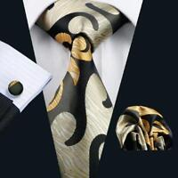 USA Classic Gold Black Men Tie Silk Novelty Necktie Hanky Cufflinks Set Party