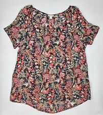 Monsoon Black Orange Floral Lightweight Oversize Top Holiday Beach Cover Up S 10