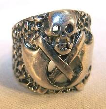 1 DELUXE DOUBLE AXE SKULL SILVER BIKER RING BR31 mens fashion jewelry rings new