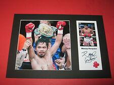 Manny Pacquiao PUGILATO A4 Mount firmato Ristampa Autografo Floyd MAYWEATHER JR