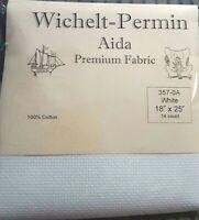 "Wichelt Imports PREMIUM Cross Stitch Fabric AIDA 14 ct 18"" X 25"" WHITE"