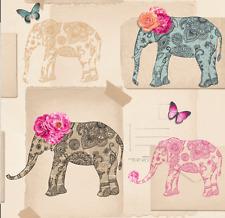 Arthouse India Rose Wallpaper Multi - Elephant Butterflies Wallpaper