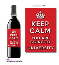Keep Calm Universidad Oferta examen Pass celebración Vino Botella Etiqueta De Regalo