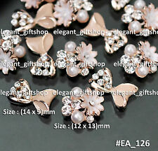 #EA126  Nude Floral Alloy Nail Art Tips Decoration Bow Knot Glitter Rhinestone