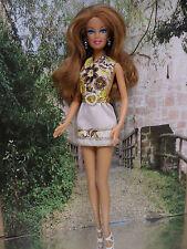 Barbie Kleidung  ❤  KLEID gelb braune Blumen ❤  FÜR BARBIE, ANNA  ELSA.....