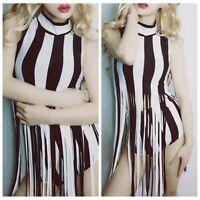 Cute Women 2 Piece Jumpsuit Casual Dance Suit Stripe Shorts Ruffle Crop Top Set