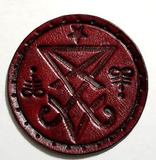 sigil of lucifer red antique circle GENUINE LEATHER  PATCH black metal
