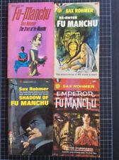 4 x vintage FU MANCHU PAPERBACKS Sax Rohmer UK & US Ed Exotic Crime pulp mystery