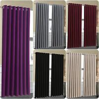 Thermal Luxury Ready Made Eyelet Blackout Curtains Pair Ring Top Fully Lined