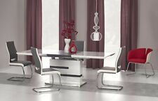 """MONACO"" White High Gloss & Dark Grey Extending 160-220 cm Dining Table & Chairs"