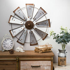 "Glitzhome 22"" Farmhouse Metal Galvanized Windmill Spinner Rustic Home Wall Décor"