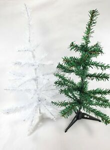 """2-Mini-Christmas Trees Table Top, Desk,  Stands 18"""" Christmas Tree White/Green"""
