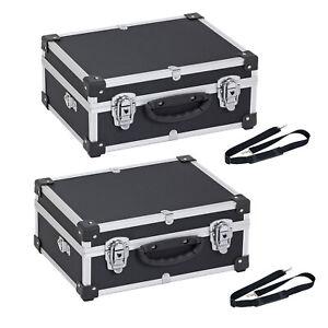Alukoffer Set 2x Aluminiumkiste Werkzeugkiste Lagerbox schwarz Tragegurt