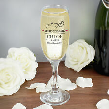 Personalised Wedding Flutes Toasting Glasses Champagne Favour Gift Bride Mr&Mrs