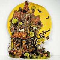 Vintage Halloween Die Cut Hallmark Spooky House Ghost Black Cat Paperboard
