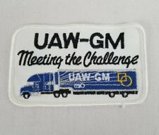 """Uaw Gm """"Meeting the Challenge"""" Embroidered Patch Auto Workers Union 4.75""""x 2.75"""""""