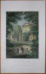 1833 Pugin print PARIS: MONUMENT OF TALMA, PERE LACHAISE CEMETERY (#49)