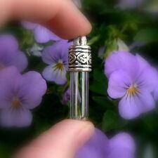 5 Glass Tube Vial Pendants w/ ornate caps (vials/bottles/tubes/miniature/silver)