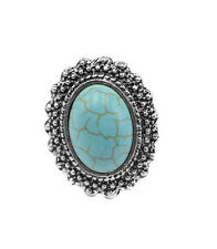 Adjustable Vintage Tibet Silver Plated Turquoise Round Flower Finger Ring