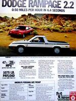 "1982 Dodge Rampage Pick Up ? 0 - 50 - 6.4 Seconds Original Print Ad 8.5 x 11"""