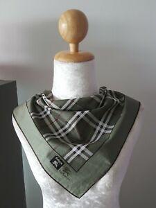 "BurberryUnisex Green Plaid Checks Square Thin Handkerchief 18"""