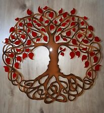 "Tree of Life, Red Leaves, Celtic Design, Metal Art, 23.5"", Wall Decor"