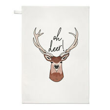 Oh Deer Tea Towel Dish Cloth - Funny Stag Joke Animal