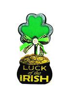 "ST PATRICK'S DAY TABLE TOP WOODEN DECORATION ""LUCK OF THE IRISH"" IRISH DECOR"