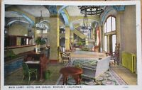 Monterey, CA California 1920s Postcard: Hotel San Carlos Lobby Interior