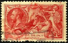 1934 Seahorse, Sg 451, 5/- Red, Re-Engraved, Used, Lot Uk 5