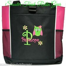 PERSONALIZED Pink Owl Diaper Bag baby Tote beach book monogrammed New wedding