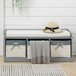 Shoe Bench Baskets Storage Rack Wooden Cabinet Padded Seat Cushion Stool Hallway
