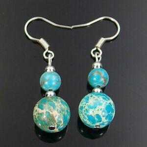 light blue sea sediment jasper gemstone beads dangle earrings 6mm 10mm