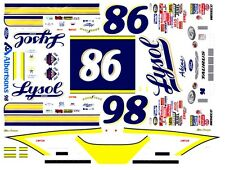 #98 Elton Sawyer Lysol Ford 1/64th HO Scale Slot Car Waterslide Decals