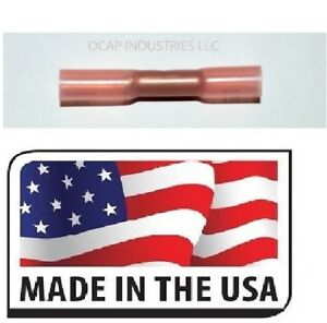 (100) RED 3M HEAT SHRINK BUTT WIRE CRIMP CONNECTOR ELECTRICAL TERMINAL 22-18 USA
