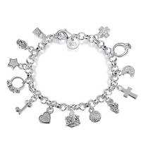 New 925 Silver Plated Crystal Charm Pendants Bangle Chain Bracelet Women Jewelry