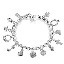 Fashion 925 Silver Plated Crystal Charm Pendants Bangle Chain Bracelet Jewelry