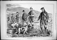 Old Sporting Dramatic News 1884 Grouse Shooting Hunting Scotland Men Victorian