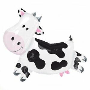 "XL 28"" Cow Super Shape Mylar Foil Balloon Farm Animal Birthday Party"