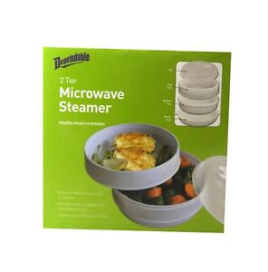 2 Tier Microwave Steamer Healthy Cooking Quick Fast Vegetables, Fish, Shellfish