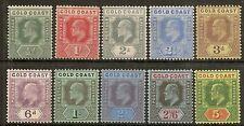 GOLD COAST 1907-13 KEVII  SET TO 5/- SG59/68 LHM