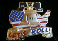 UNITED FLIGHT 93 PA PENTAGON VA WTC 911 NEW YORK HAT PIN LETS ROLL US USA WOW